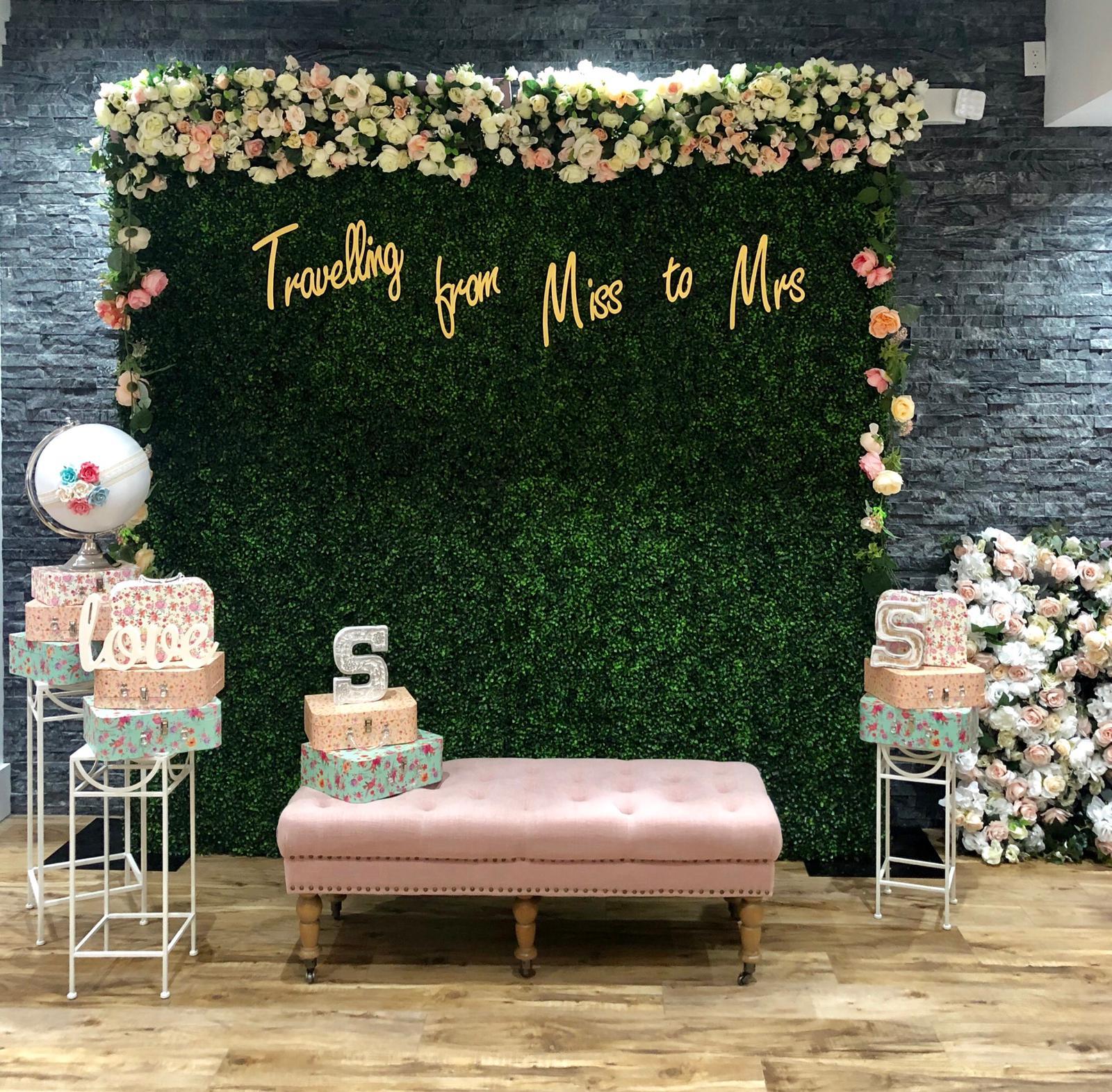 Green High Tea Flower Wall Events 365